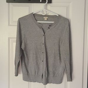 J. Crew gray cardigan with cropped sleeves
